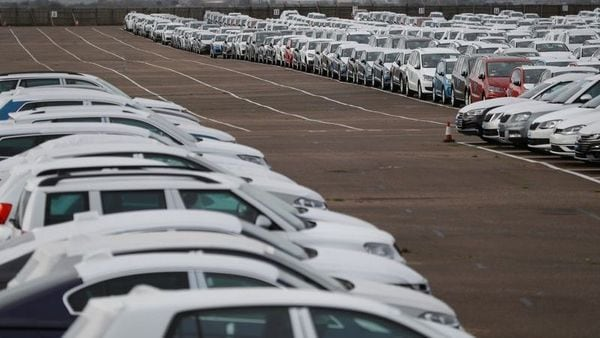 FILE PHOTO: Imported cars are parked in a storage area at Sheerness port, Sheerness, Britain. (REUTERS)