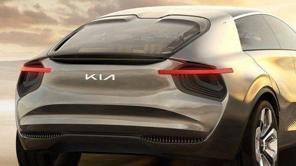 Photo of new Kia logo on the Imagine Concept vehicle