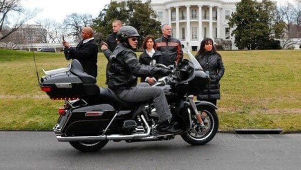 File photo: Harley Davidson President and CEO Matthew S Levatich rides his motorcycle onto the South Lawn of the White House in Washington before a meeting with President Donald Trump and Vice President Mike Pence. (AP)