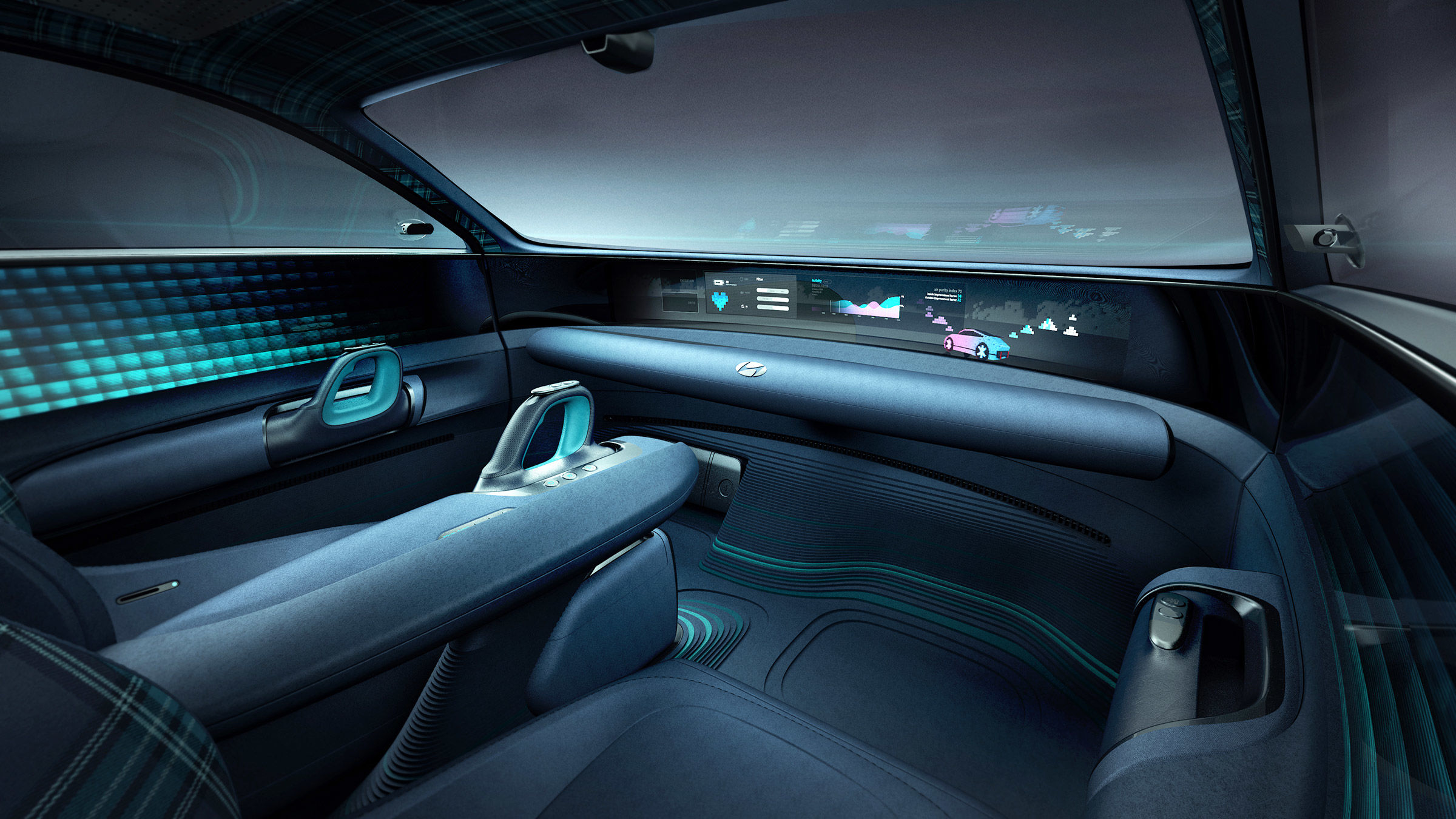 A glimpse of the interior shows how the space has been utilised to provide comfort and a lifestyle space of refinement. Created on the autonomous driving technology, the car is operated by joysticks instead of steering wheel.