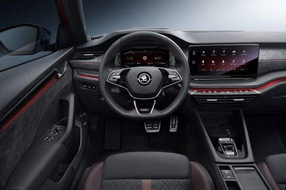 On the inside, the new Octavia RS iV gets a new steering wheel, new seats, new screens. The 10-inch screen come with digital instruments plus infotainment system.