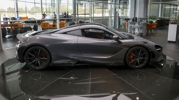 The McLaren 765LT supercar, manufactured by McLaren Automotive, sits on display during its launch at the company's headquarters in UK. (Bloomberg)