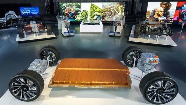 A new modular platform and battery system named Ultium is unveiled by General Motors at the Design Dome on the GM Tech Center campus in Warren, Michigan, US. (via REUTERS)