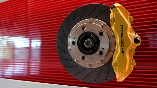 A braking system for Porsche is seen at Brembo headquarters. (REUTERS)