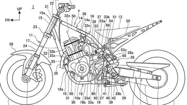 Honda's new 1100 cc roadster patent image