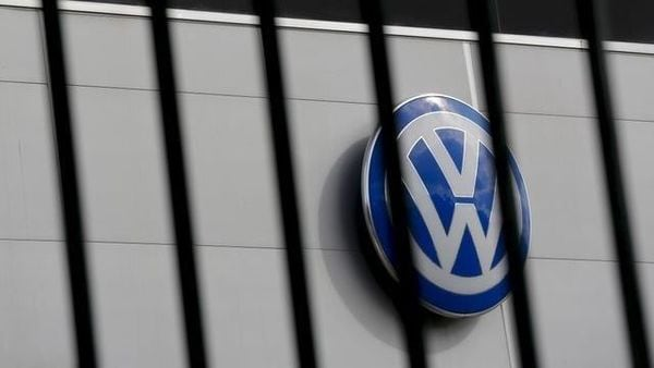 A logo of Volkswagen is pictured at a Volkswagen dealership in Spain. (REUTERS)