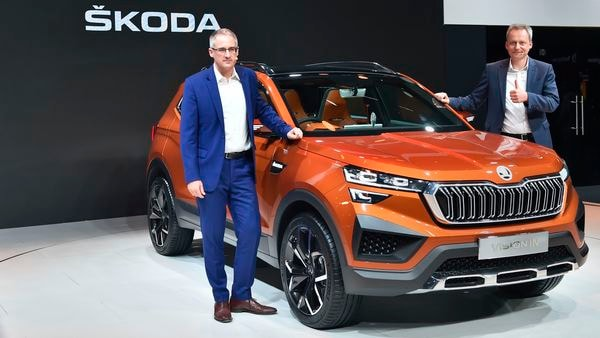 File photo: Skoda India Sales & Marketing chief Zac Hollis with Skoda Vision IN.