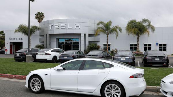 File photo of a Tesla service center in Costa Mesa, California. (REUTERS)