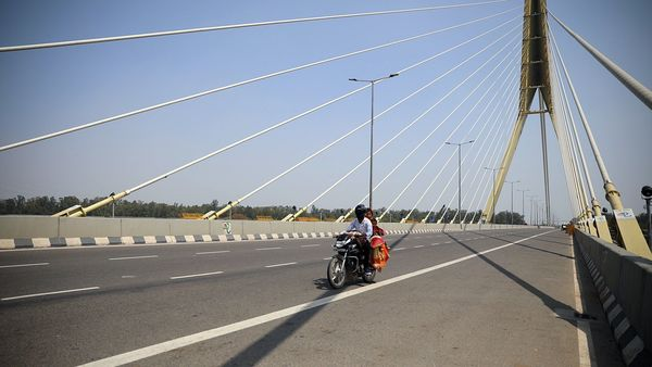 A deserted view of Signature bridge amid lockdown announced in Delhi due to Coronavirus.