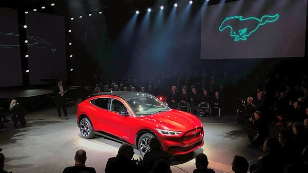 File photo of an electric Mustang Mach-E car is displayed during its launch in Oslo, Norway.