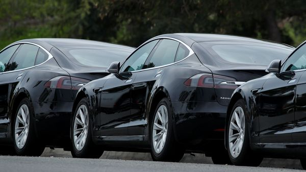 Tesla vehicles are shown at a Tesla service center in Costa Mesa, California, U.S. (REUTERS)