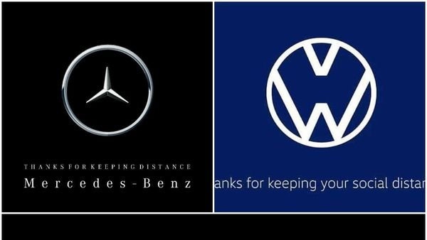 Logos of Mercedes and Volkswagen promoting social distancing