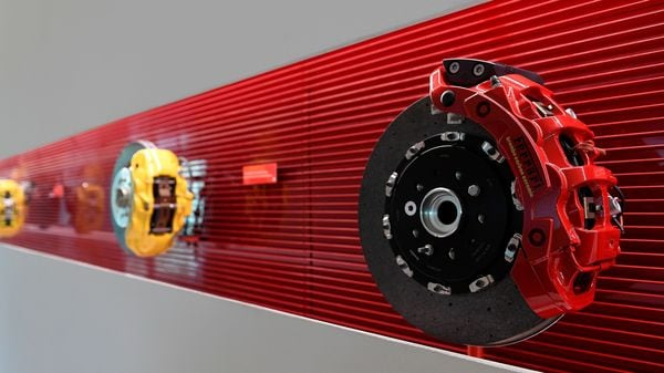 File photo: A braking system for Ferrari (R) is seen at Brembo headquarters in Bergamo, Italy. (REUTERS)