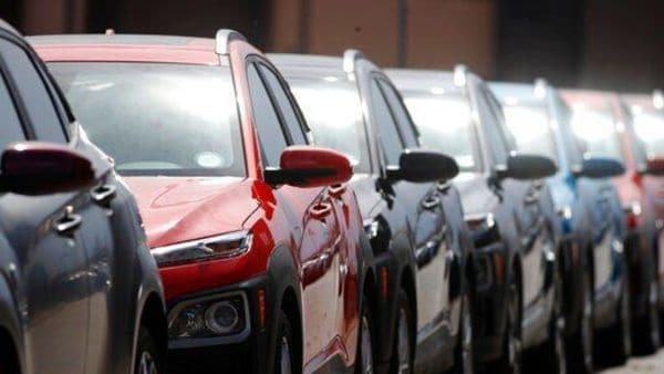 A row of unsold 2020 Kona sports-utility vehciles sits outside a Hyundai dealership as dealers struggle to entice buyers locked down due to coronavirus. (AP)