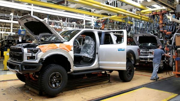 FILE PHOTO: A Ford 2018 F-150 pick-up truck moves down the assembly line at Ford's Dearborn Truck Plant . (REUTERS)