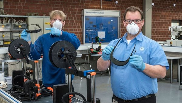 Volkswagen uses 3D printing to produce face shields