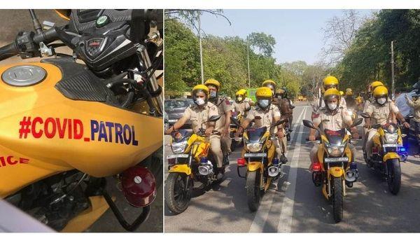 Delhi Police's #COVID_Patrol bike squad. Image Credit: DCPSouthDelhi