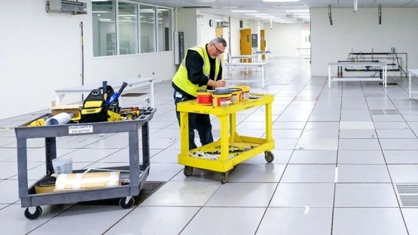 Work being done at the General Motors manufacturing facility in Kokomo, Indiana, where GM and Ventec Life Systems are partnering to produce Ventec VOCSN critical care ventilators in response to the Covid-19 pandemic.