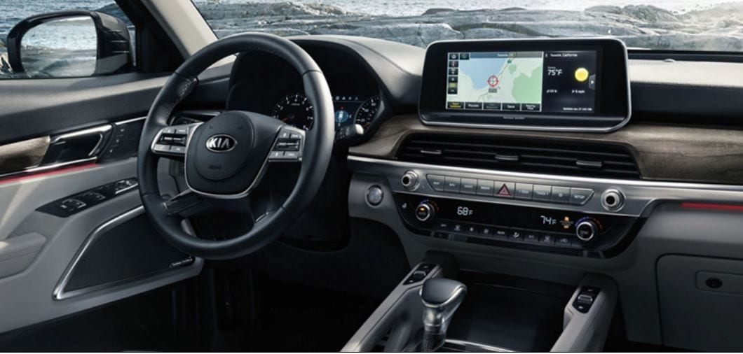 The SUV's cabin gets a 10.25-inch infotainment unit with UVO link, Android Auto and Apple CarPlay.