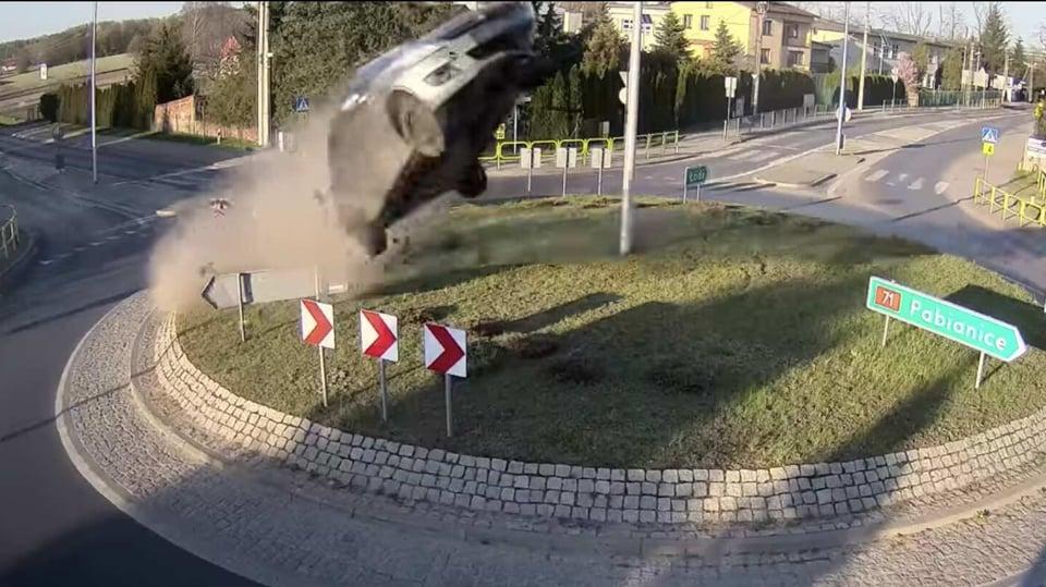 Horror on tape: Speeding Suzuki Swift flies after hitting roundabout