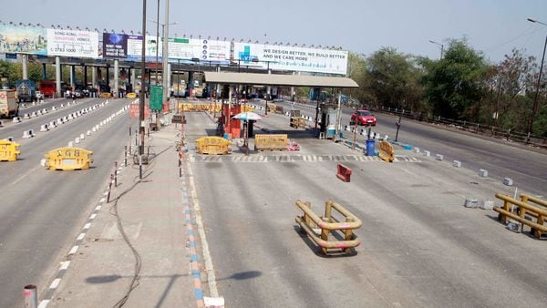 A deserted view of Vashi toll booth on Mumbai-Pune highway, amid nationwide lockdown to limit the spreading of Coronavirus disease.