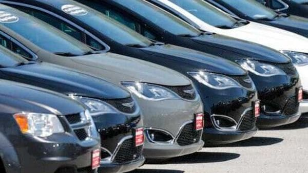 Cars are parked in an auto dealer lot Wednesday, April 15, 2020, in unincorporated St. Louis County, Mo. U.S. retail sales recorded a record drop in March, with auto sales down 25.6%, as the coronavirus outbreak closed down thousands of stores and shoppers stayed home. (AP Photo/Jeff Roberson) (AP)