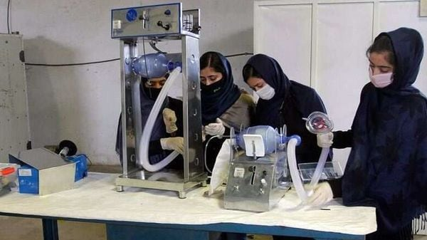 The team of Afghan girls readying a ventilator prototype built using car parts. Image credits: AP