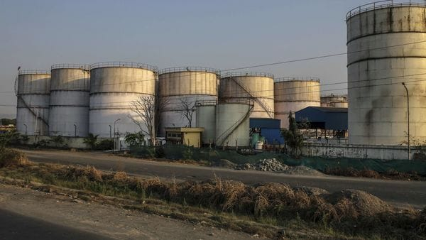 File photo: Oil storage tanks stand at Jawaharlal Nehru Port, operated by Jawaharlal Nehru Port Trust (JNPT), in Navi Mumbai, Maharashtra, India. (Bloomberg)