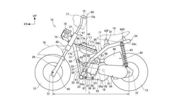 Patent drawing of the new mini Honda Monkey bike.