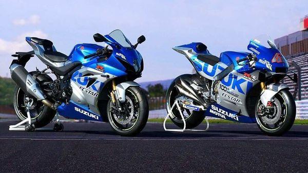 Suzuki GSX-R1000R MotoGP (left) pictured with Team Suzuki Ecstar's MotoGP race bike (right).