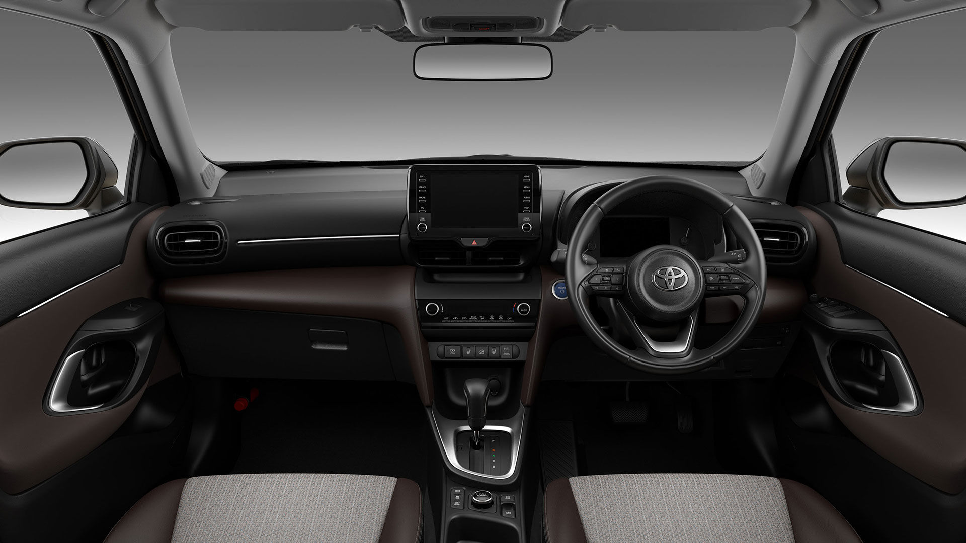 Inside, Yaris Cross has a huge multimedia screen detached from the panel. There is two-zone air conditioning and a three-spoke steering wheel with several satellite commands.