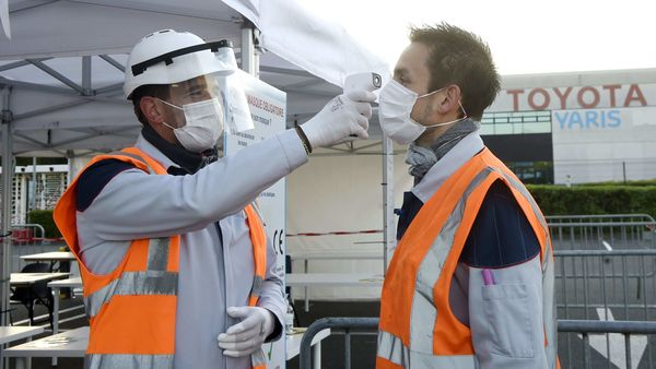 Toyota employee undergo monitoring as company partially resumed production in France amid coronavirus. (AFP)