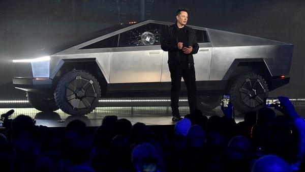 File photo: Tesla CEO Elon Musk unveils the Cybertruck at the TeslaDesign Studio in California. (Robert Hanashiro-USA TODAY via I)