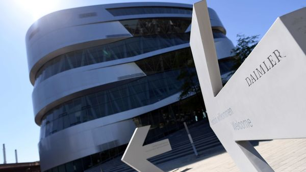 An arrow in front of the Mercedes-Benz Museum shows the way to the Daimler headquarters. File Photo used for representational purpose only. (REUTERS)