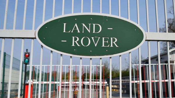 A closed Jaguar-Land Rover production plant is seen in Solihull, central England. (AFP)
