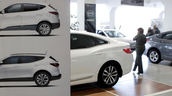File photo of cars on display at the showroom of a Hyundai dealership in Russia has been used for representational purpose. (REUTERS)