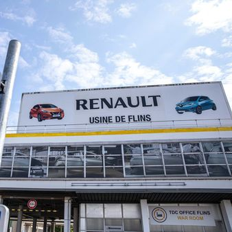 File photo: A logo sits on display above the Renault SA factory in France. European car sales were almost wiped out in April after governments around the continent closed auto dealerships and other businesses to slow the spread of the coronavirus. (Bloomberg)