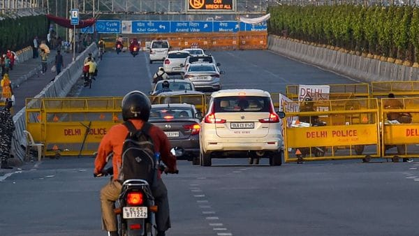 Vehicles ply on NH-24 during lockdown 3.0 imposed in the wake of coronavirus pandemic in New Delhi. (PTI)