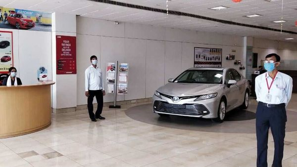 An open Toyota showroom after the government eased a nationwide lockdown imposed as a preventive measure against the spread of the coronavirus disease in Lucknow.