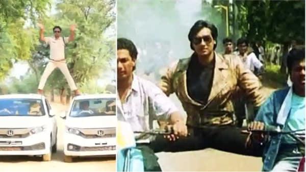 ₹5,000 fine was slapped against Manoj Yadav, the SHO of Narsinghgarh in Damoh district of Madhya Pradesh, for this stunt copying Bollywood actor Ajay Devgn.