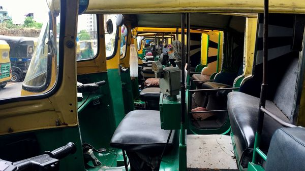 Auto Rickshaws are seen parked during the government-imposed nationwide lockdown as a preventive measure against the coronavirus.