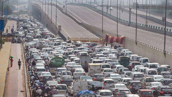 Traffic congestion seen at Delhi-UP border during the fourth phase of nationwide lockdown to curb the spread of coronavirus, in New Delhi. (PTI)