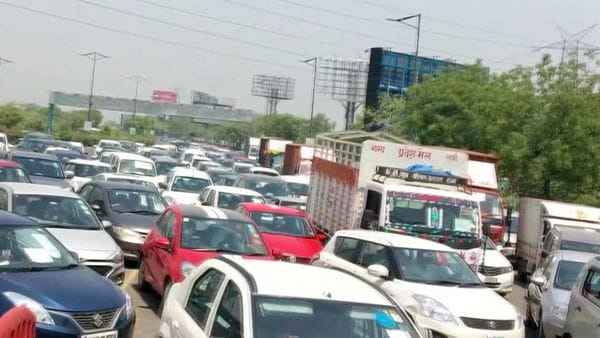 Traffic congestion is seen at a toll booth on Delhi-Noida Direct (DND) Flyway during the fourth phase of nationwide lockdown to curb the spread of coronavirus, in Noida.