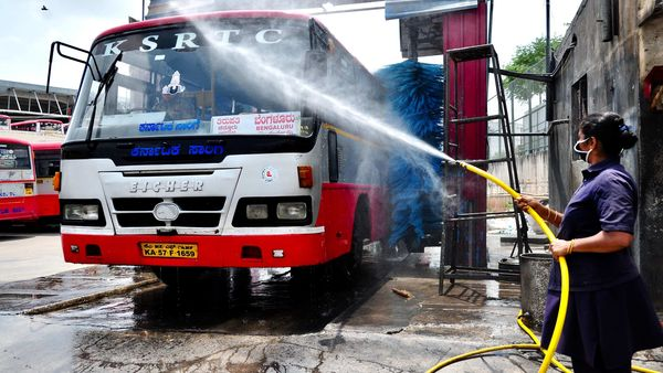 File photo: Buses getting washed and sanitised after the state government announced the Karnataka State Road Transport Corporation start services for transport in Bengaluru. (ANI)