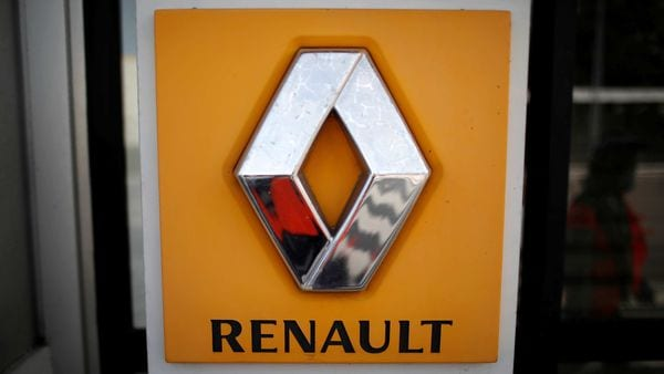 FILE PHOTO: The logo of Renault is seen at the Renault automobile factory in Flins as the French carmaker ramps up car production with new security and health measures during the outbreak of the coronavirus disease. (REUTERS)