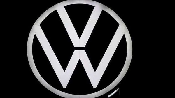 A new logo of German carmaker Volkswagen is unveiled at the VW headquarters in Wolfsburg, Germany. (REUTERS)