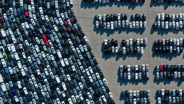 Aerial view of stationed rental cars parked amid the coronavirus pandemic. (File photo used for representational purpose). (AFP)