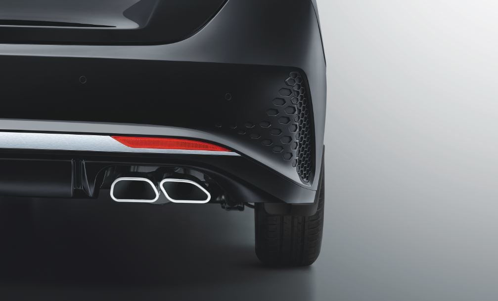 The rear of the Turbo model gets twin tip muffler to add to its sporty character.