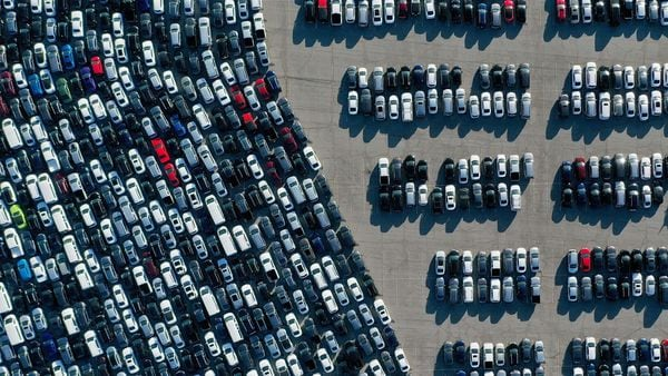 Aerial view of stationed rental cars parked amid the coronavirus pandemic.