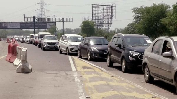 Traffic congestion is seen at a toll booth on Delhi-Noida Direct (DND) Flyway.